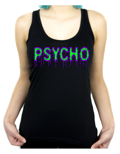 PSYCHO Purple & Green Drip Melting Women's Racer Back Tank Top Shirt Horror Clothing