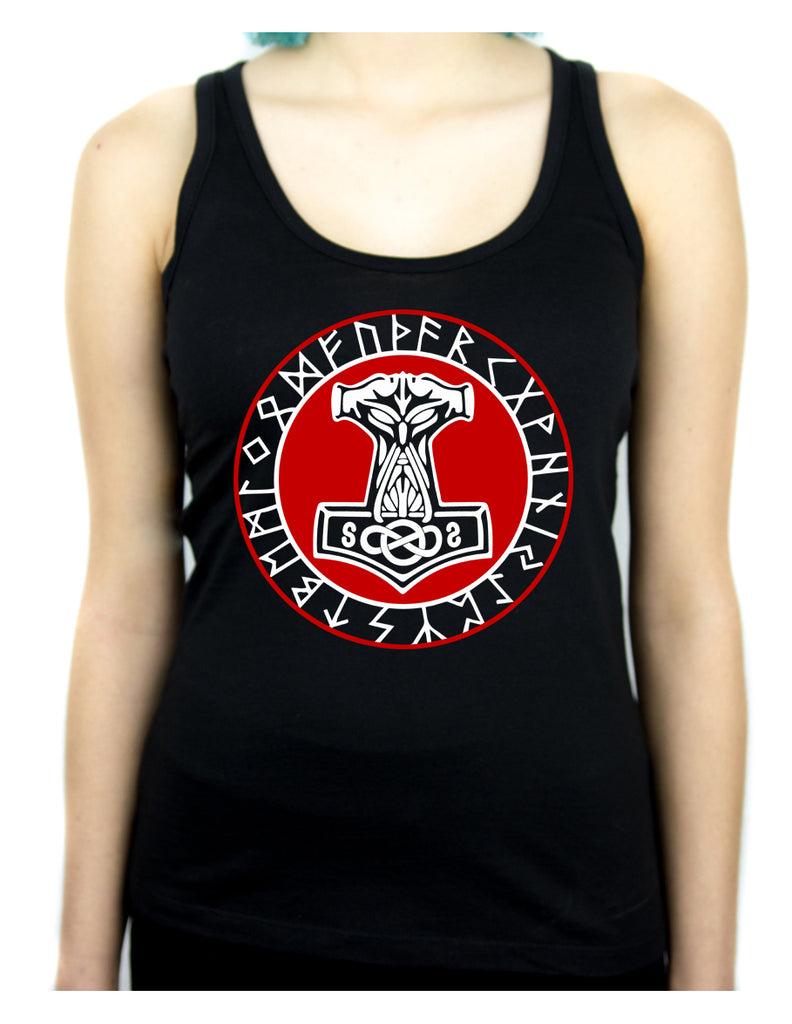 Norse Mythology Odin Viking Women's Racer Back Tank Top Shirt Mjolnir Hammer