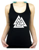 Norse Triangle Knot Women's Racer Back Tank Top Shirt The Valknut Odin's Slain Warriors