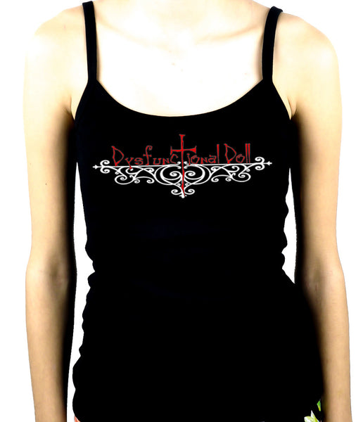Dysfunctional Doll Wrought Iron Logo Women's Spaghetti Strap Shirt Top