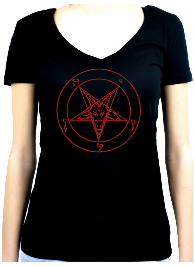 Red Baphomet Inverted Pentagram Women's V-Neck Shirt Top Occult