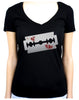 Bloody Razor Blade Women's V-Neck Shirt Top Suicide Prevention Awareness