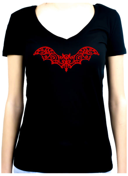 Wrought Iron Red Vampire Bat Women's V-Neck Shirt Top Gothic Clothing