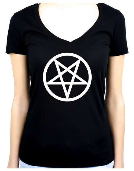 White Inverted Pentagram Women's V-Neck Shirt Top Occult Clothing