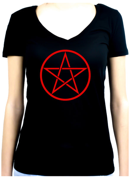Red Woven Pentacle Women's V-Neck Shirt Top Witchy Clothing