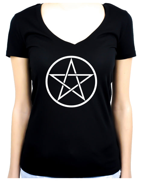 White Woven Pentacle Women's V-Neck Shirt Top Witchy Clothing