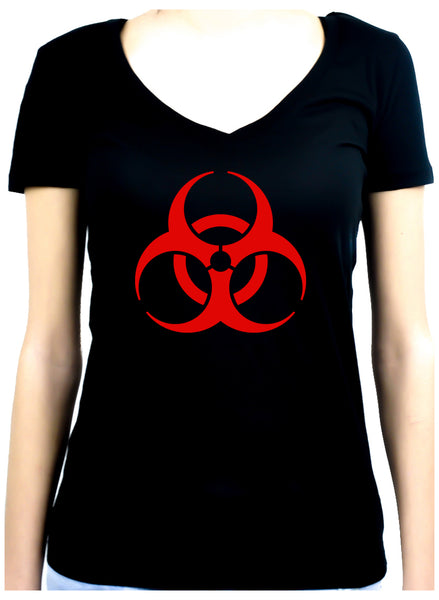 Red Bio-Hazard Radiation Women's V-Neck Shirt Top Cyber Goth Clothing