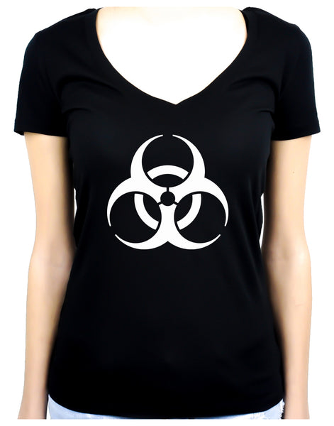 White Bio-Hazard Radiation Women's V-Neck Shirt Top Gothic Clothing