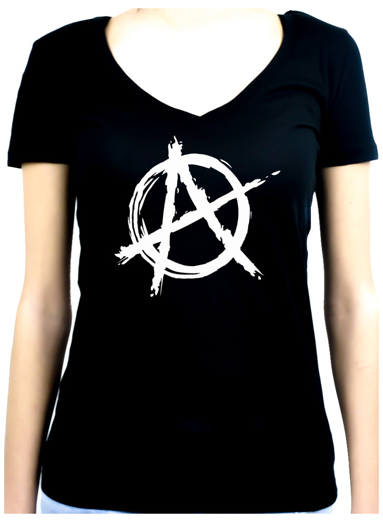 White Anarchy Punk Rock Women's V-Neck Shirt Top Gothic Clothing