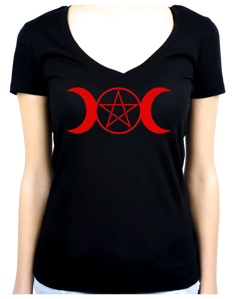 Red Triple Moon Goddess Pentagram Women's V-Neck Shirt Top Witchy Clothing