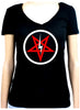 Inverted Pentagram Lightning Bolt Women's V-Neck Shirt Top Occult Clothing
