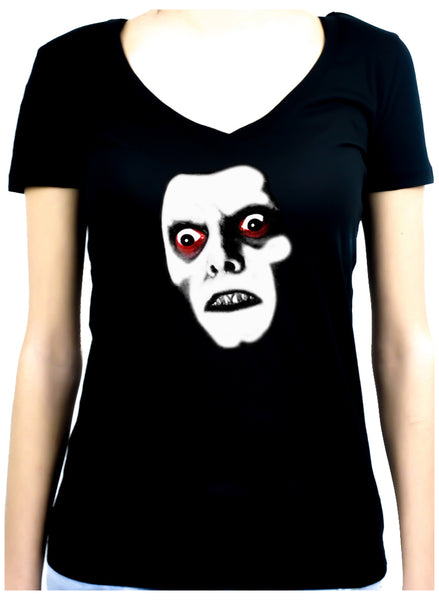 Captain Howdy Pazuzu Demon Women's V-Neck Shirt Top The Exorcist