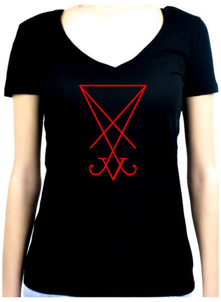 Red Sigil Of Lucifer Women's V-Neck Shirt Top Occult Clothing