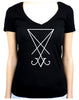 White Sigil Of Lucifer Women's V-Neck Shirt Top Occult Clothing