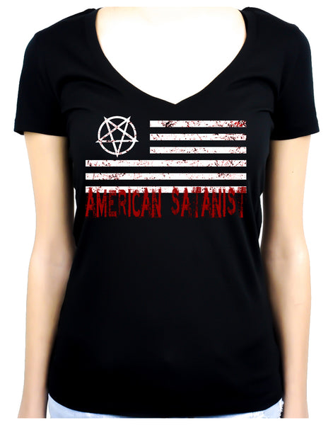 American Satanist Bloody Flag Pentagram Women's V-Neck Shirt Top Hail Satan Occult Clothing