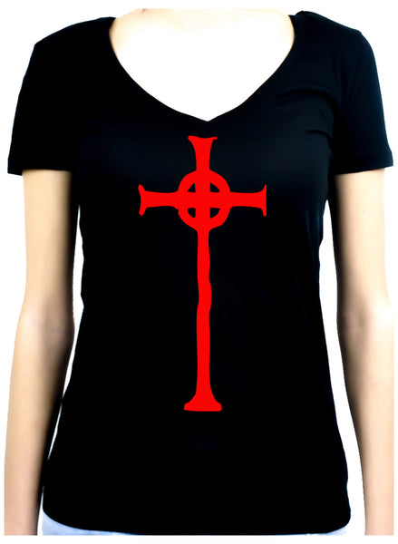 Red Vampire Hunter Celtic Cross Tombstone Women's V-Neck Shirt Top Occult Clothing