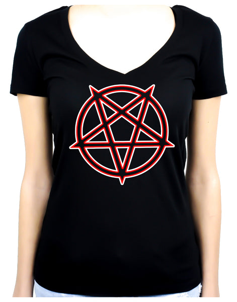 Unholy Inverted Ritual Pentagram Symbol Women's V-Neck Shirt Top Occult Clothing