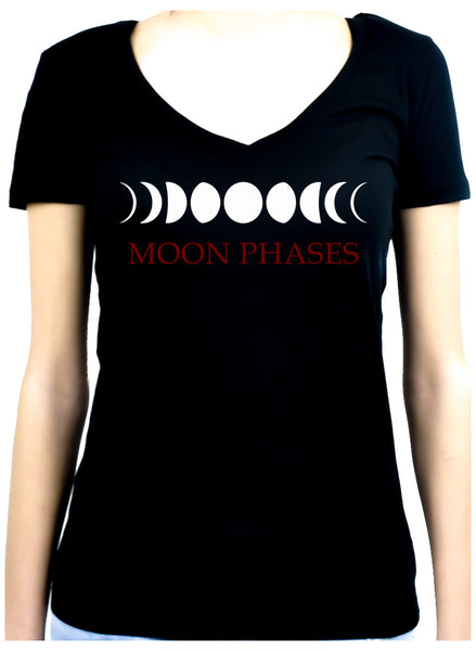 Moon Phases Lunar Cycles Women's V-Neck Shirt Top Witchy Clothing
