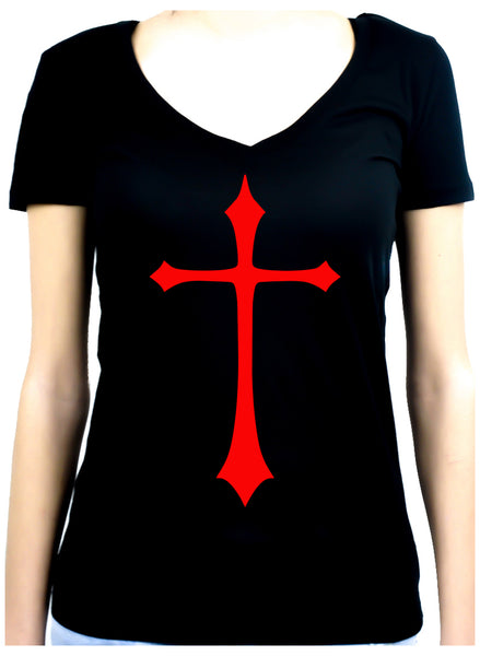 Red Medieval Holy Cross Women's V-Neck Shirt Top Occult Clothing
