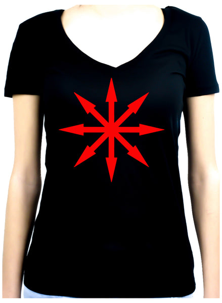 Red Eight Pointed Arrow Chaos Star Women's V-Neck Shirt Top Occult Clothing