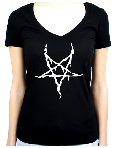 White Thorn Jagged Inverted Pentagram Women's V-Neck Shirt Top Occult Clothing