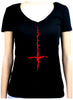 Red Thorn Jagged Inverted Cross Women's V-Neck Shirt Top Occult Clothing
