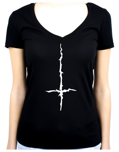 White Thorn Jagged Inverted Cross Women's V-Neck Shirt Top Occult Clothing