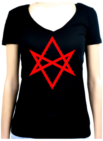 Red Unicursal Hexagram Six Pointed Star Women's V-Neck Shirt Top Occult Clothing