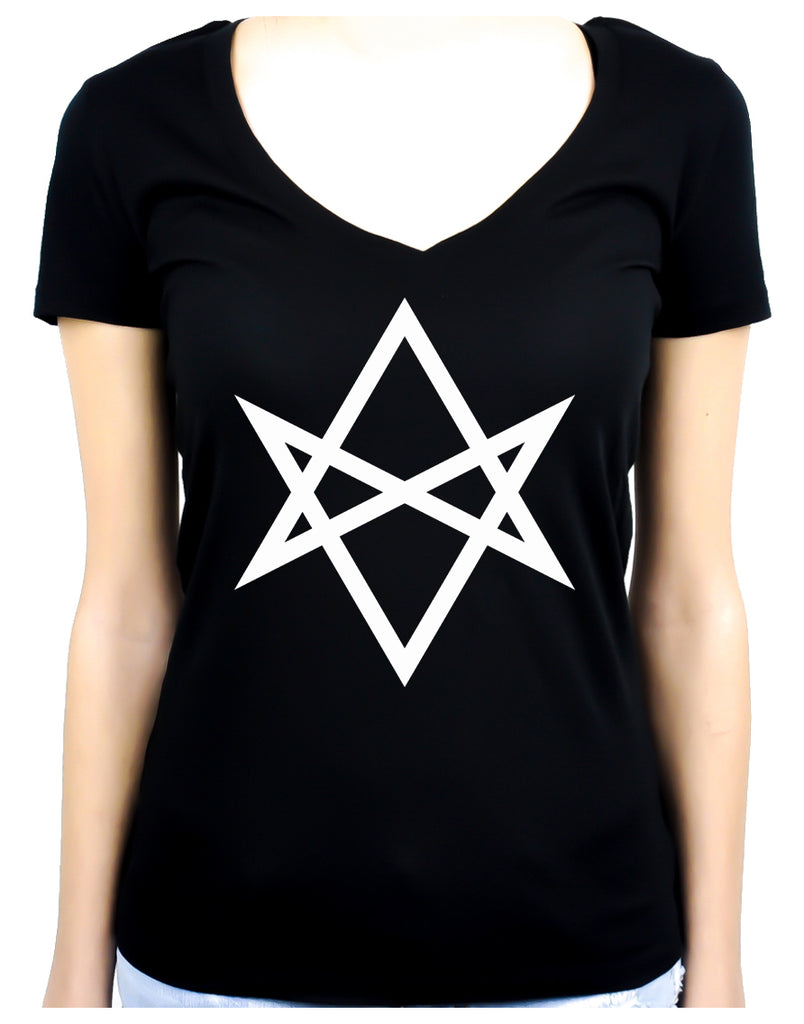 White Unicursal Hexagram Six Pointed Star Women's V-Neck Shirt Top Occult Clothing