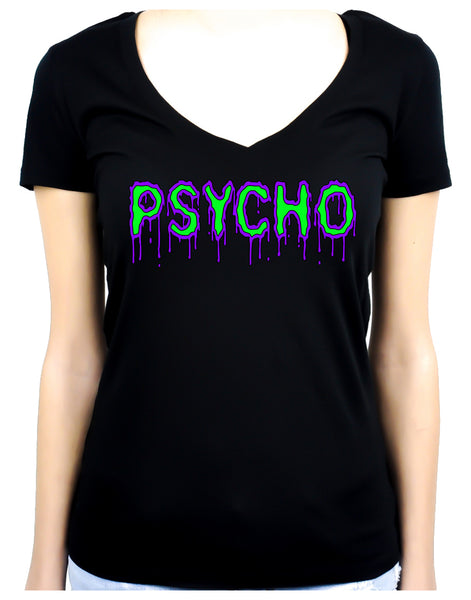 PSYCHO Purple & Green Drip Melting Women's V-Neck Shirt Top Horror Clothing