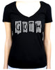 Black & White Vertical Stripe GOTH Women's V-Neck Shirt Top Occult Clothing