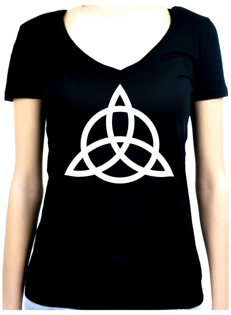 Triquetra Ancient Celtic Protection Symbol Women's V-Neck Shirt Top Occult Clothing