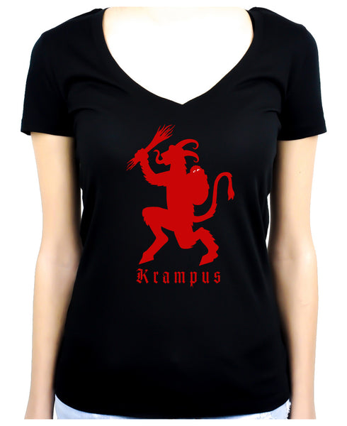 Merry Krampus Women's V-Neck Shirt Top Occult Horror Clothing