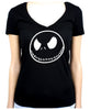 Negative Jack Skellington Face Women's V-Neck Shirt Top Nightmare Before Christmas