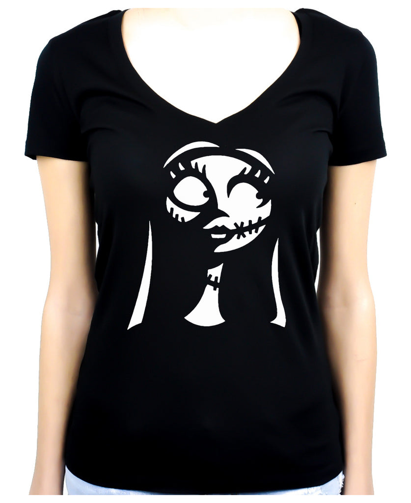 For Love of Sally Women's V-Neck Shirt Top Nightmare Before Christmas