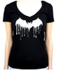 Drip Melting Vampire Bat Women's V-Neck Shirt Top Gothic Clothing Alternative