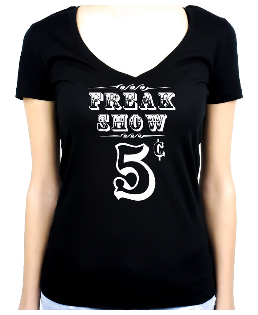 Freak Show Poster Women's V-Neck Shirt Top Circus Carnivale Alternative Clothing