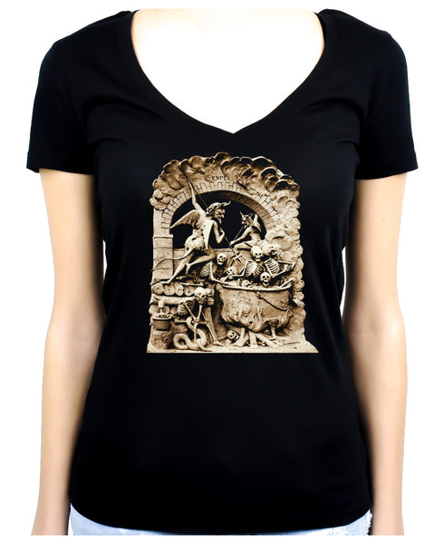 Diableries Devil Hell Scene Women's V-Neck Shirt Skeletons in Cauldron