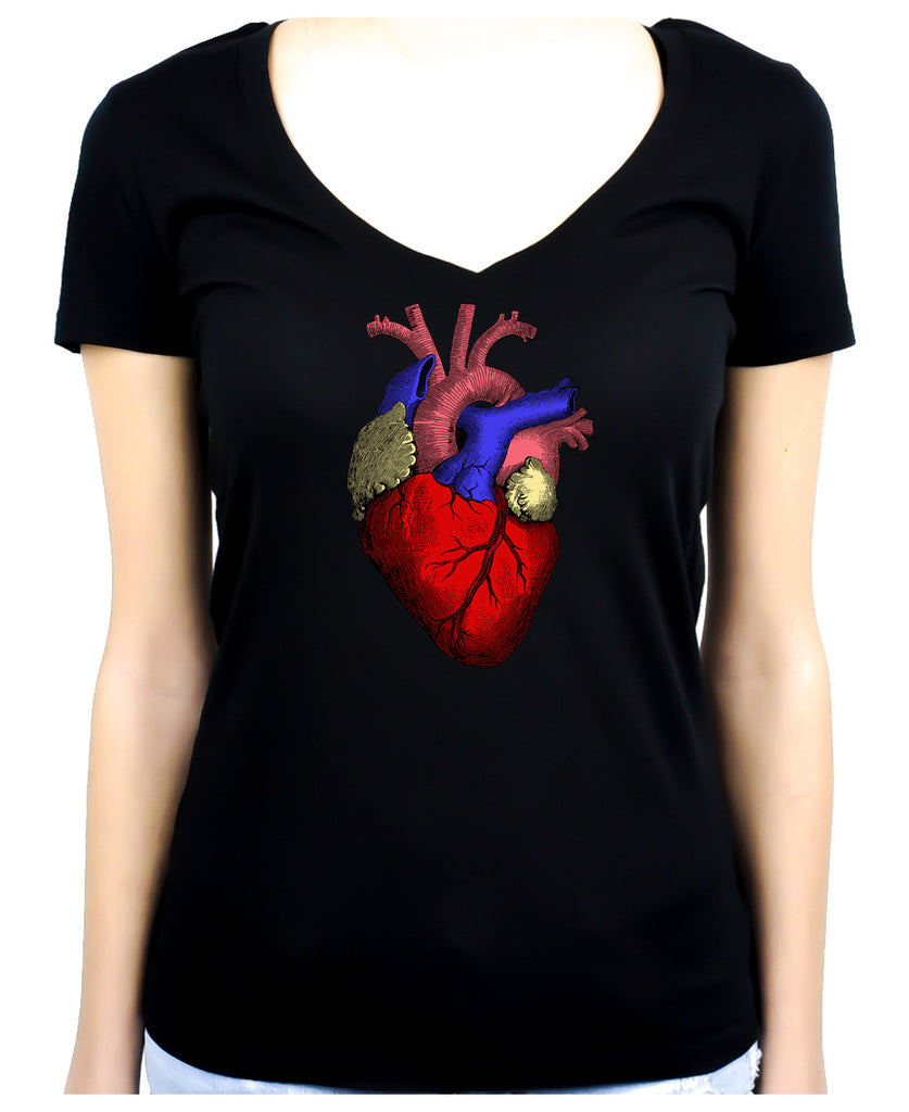 Anatomical Human Heart Women's V-Neck Shirt Medical Oddities Clothing