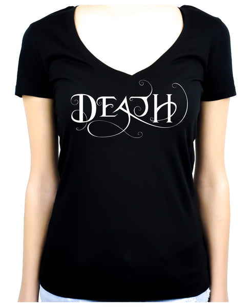 Death Being the End Women's V Neck Shirt Occult Gothic Clothing Sandman