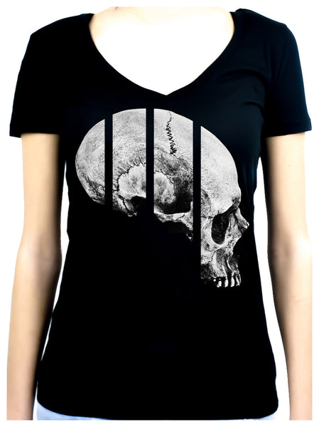 Medical Oddities Human Skull Women's V Neck Shirt Occult Clothing