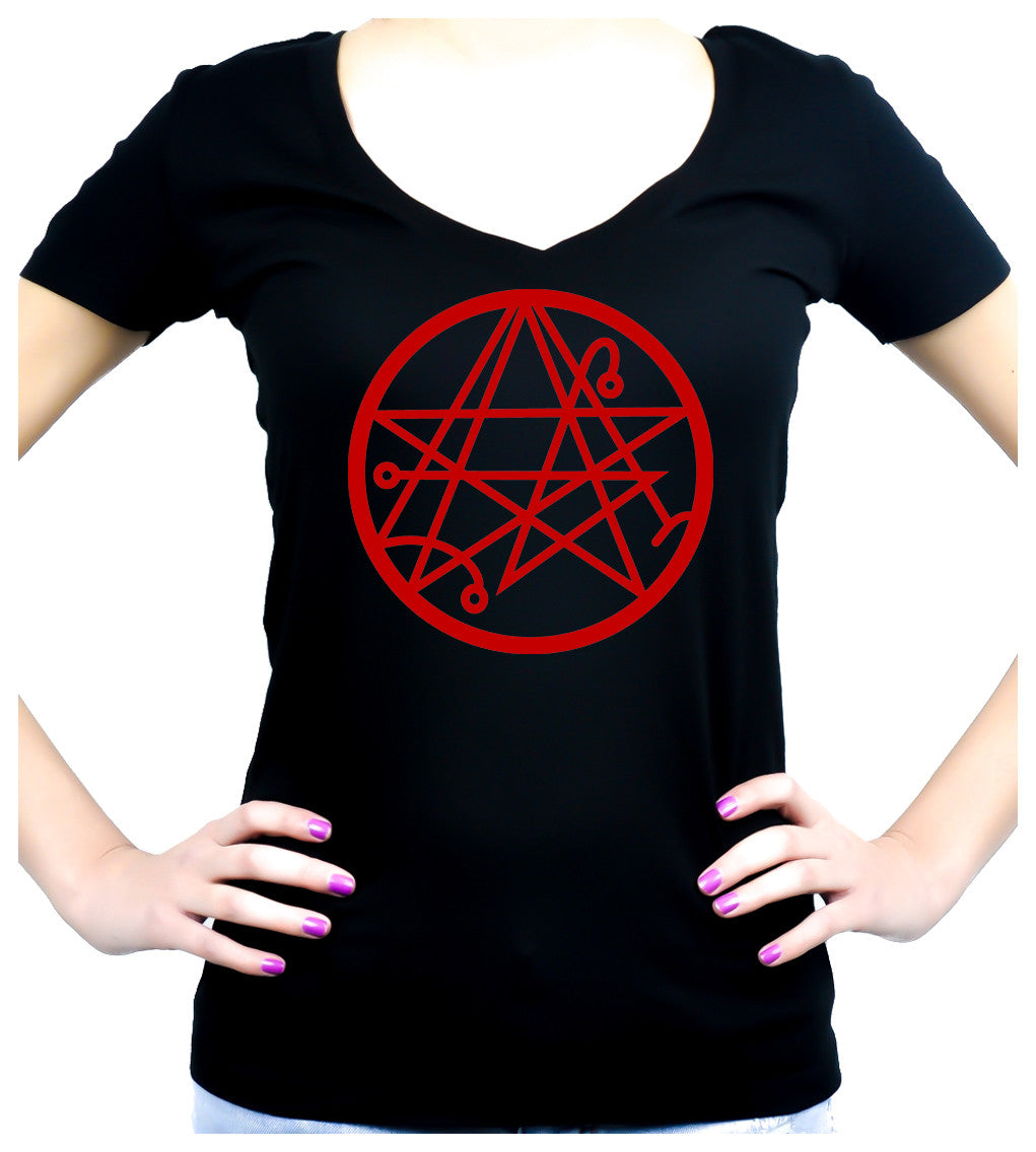 Necronomicon Gate Alchemy Symbol Women's V Neck Shirt Top Occult HP  Lovecraft