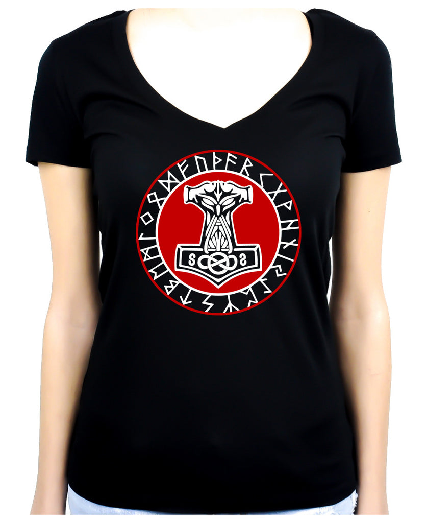Norse Mythology Odin Viking Women's V Neck Shirt Top Mjolnir Hammer Occult Clothing
