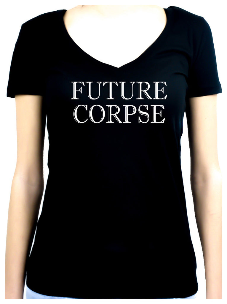 Future Corpse Women's V-Neck Shirt Top Horror Clothing Cemetery Funeral