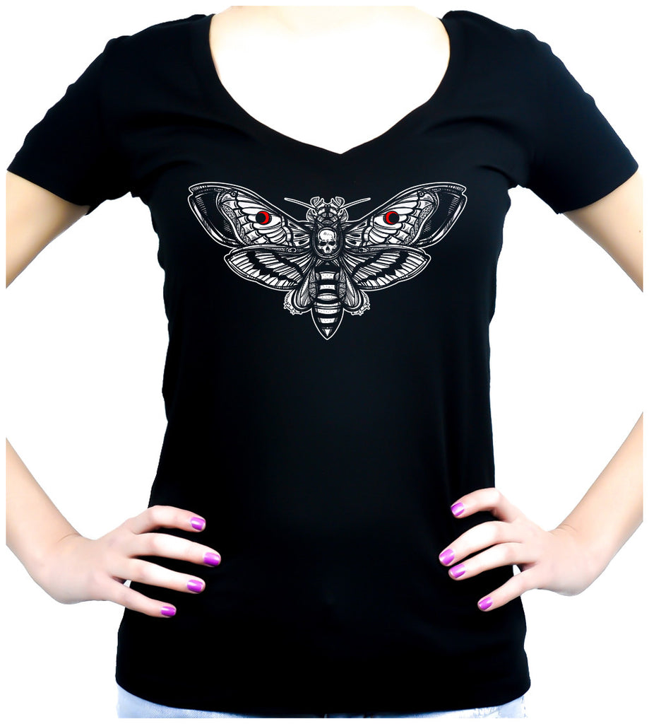 Moth with Death Skull Women's V-Neck Shirt Top Dark Alternative Gothic Clothing
