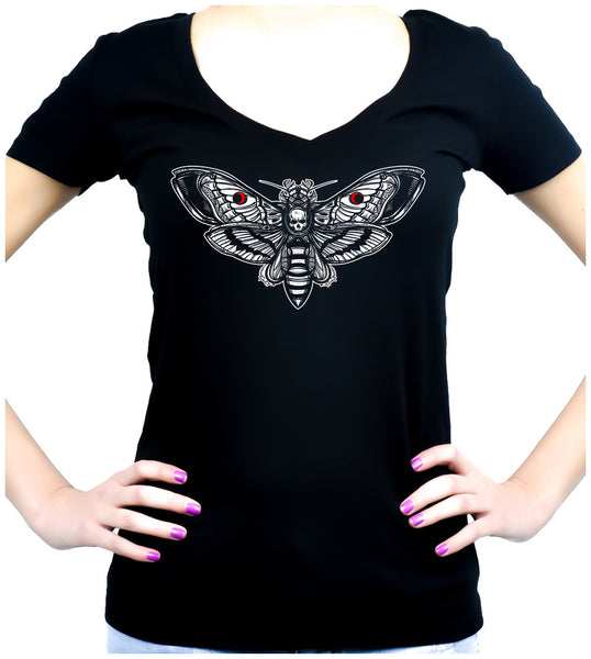 Moth with Death Skull Women's V-Neck Dark Alternative Clothing Gothic Deathrock