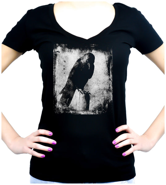 Black Raven with Evil Eye Women's V-Neck Dark Alternative Clothing Deathrock