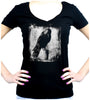 Black Raven with Evil Eye Women's V-Neck Shirt Top Edgar Allan Poe
