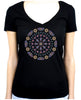Geometric Gothic Stained Glass Window Women's V-Neck Dark Alternative Clothing