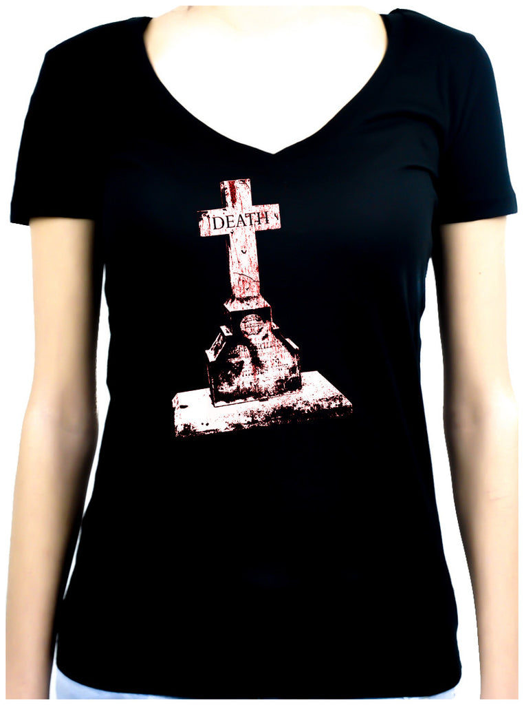Tombstone of Death Cemetery Women's V-Neck  Shirt Top Dark Gothic Clothing